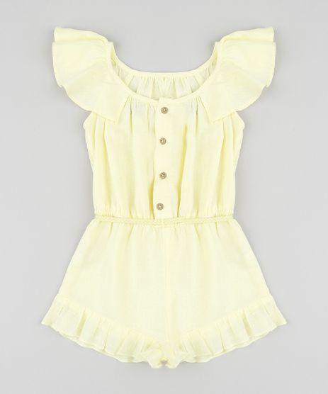 Macaquinho-Infantil-em-Linho-com-Cinto-Trancado-Amarelo-Claro-9174598-Amarelo_Claro_1
