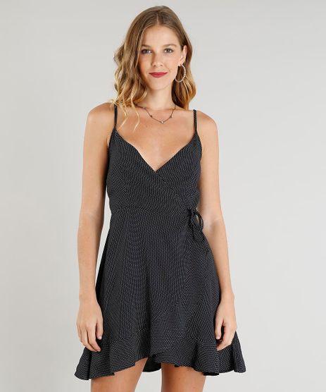 5172f833d7 Vestido-Feminino-Curto-Envelope-Estampado-de-Poa-Decote-