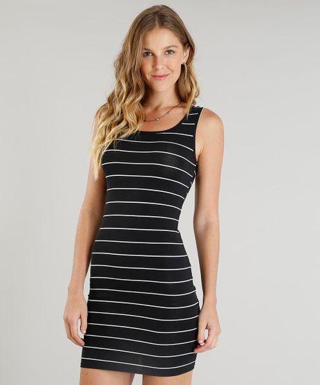 Vestido-Feminino-Basico-Curto-Listrado-Alca-Media-Decote-Redondo-Preto-9388010-Preto_1