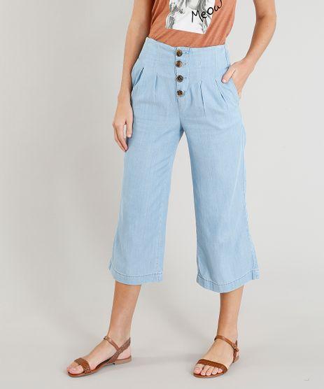 Calca-Pantacourt-Jeans-Feminina-com-Botoes-Azul-Claro-9386766-Azul_Claro_1
