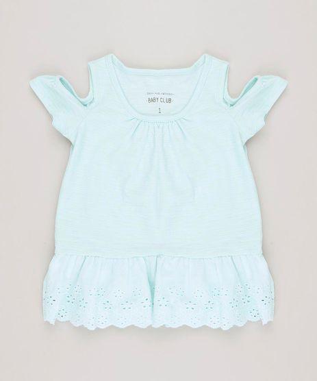 Blusa-Infantil-Open-Shoulder-com-Laise-Manga-Curta-Decote-Redondo-Verde-Claro-9230639-Verde_Claro_1