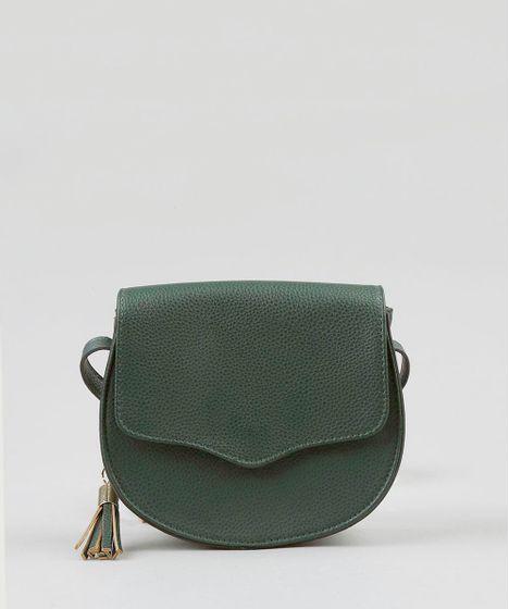 8df968b5b Bolsa Transversal Feminina Arredondada com Tassel Verde Escuro - cea