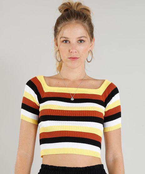 Blusa-Feminina-Cropped-Listrada-em-Trico-Amarela-9389896-Amarelo_1