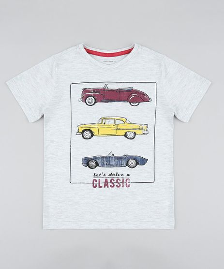 Camiseta-Infantil-com-Estampa-de-Carro-Manga-Curta-Gola-Careca-Cinza-Mescla-Claro-9413306-Cinza_Mescla_Claro_1