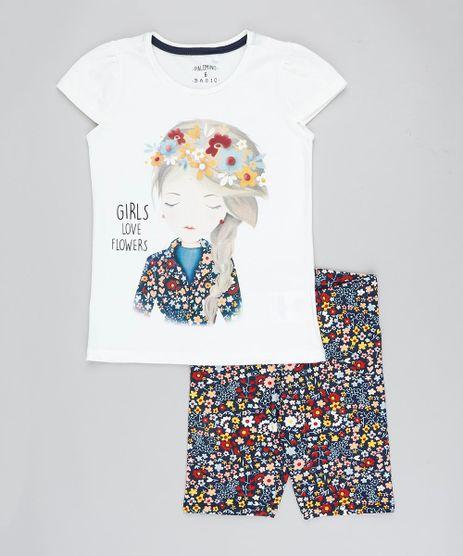 Conjunto-Infantil-de-Blusa--Girls--Manga-Curta-Off-White---Bermuda-Estampada-Floral-Azul-Marinho-9412224-Azul_Marinho_1
