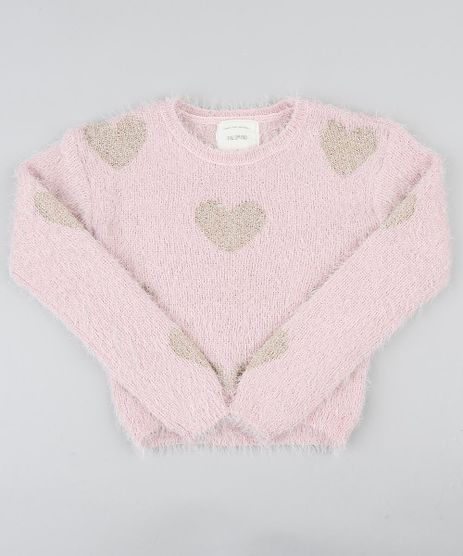 Sueter-Infantil-em-Trico-Felpudo-com-Coracoes-Decote-Redondo-Rosa-Claro-9347623-Rosa_Claro_1