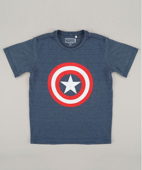 Camiseta Infantil Capitão América Manga Curta Gola Careca Azul - cea b9950496706b3