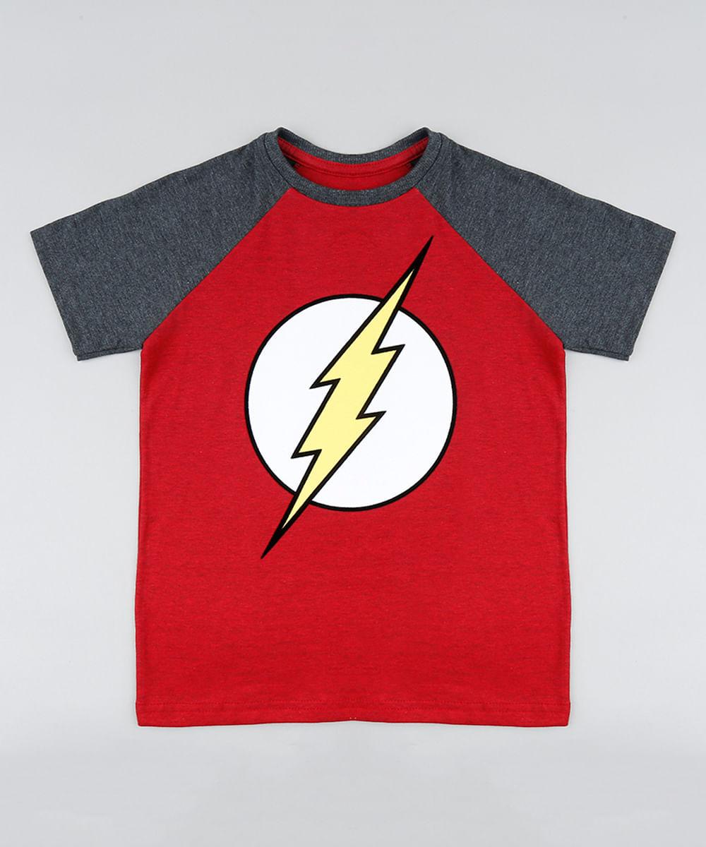 Camiseta Infantil The Flash Raglan Manga Curta Gola Careca Vermelha ... bb2fb4a8aad