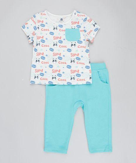 Conjunto-Infantil-de-Camiseta-Estampada-de-Panda-Manga-Curta-Cinza-Mescla-Claro---Calca-em-Moletom---Babador-Verde-Claro-9205073-Verde_Claro_1
