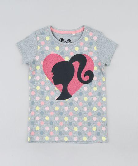 Blusa-Infantil-Barbie-Estampada-de-Poa-com-Glitter-Manga-Curta-Decote-Redondo-Cinza-Mescla-9327704-Cinza_Mescla_1