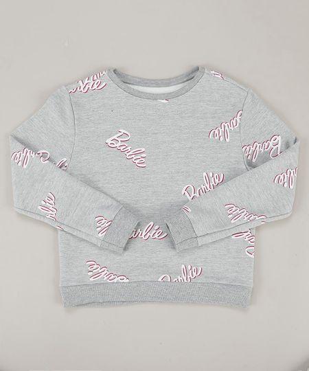 Blusao-Infantil-Barbie-em-Moletom-Decote-Careca-Cinza-Mescla-9410408-Cinza_Mescla_1