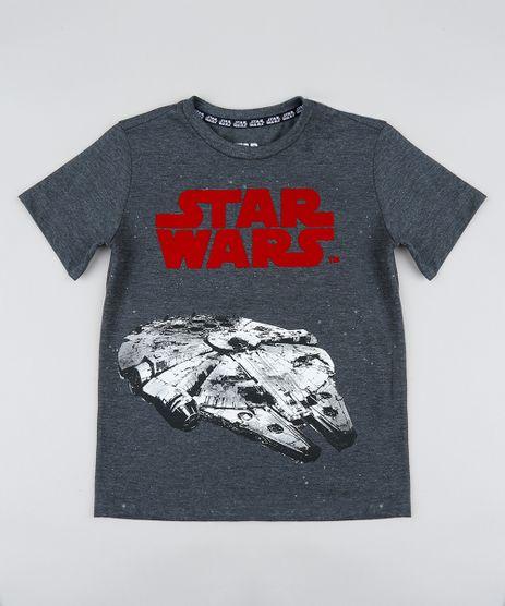 Camiseta-Infantil-Millennium-Falcon-Star-Wars-Manga-Curta-Gola-Careca-Cinza-Mescla-Escuro-9238380-Cinza_Mescla_Escuro_1