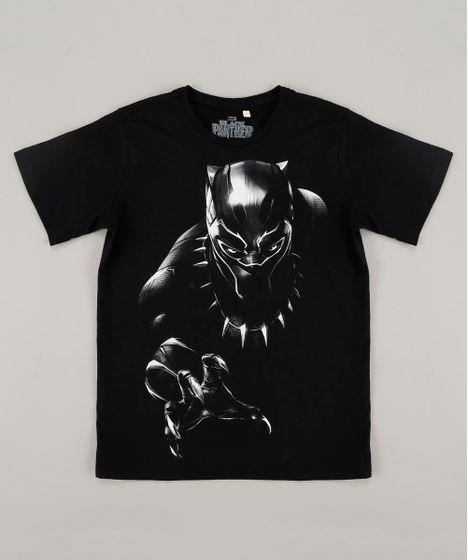 57529ce4bd Camiseta Infantil Pantera Negra Manga Curta Gola Careca Preta - cea