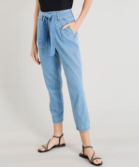 Calca-Jeans-Clochard-Feminina-com-Faixa-de-Amarrar-Azul-Claro-9458576-Azul_Claro_1