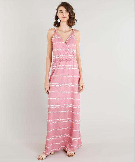 936c63984 Vestido Feminino Longo Estampado Tie Dye Alça Dupla Decote V Rosa - cea