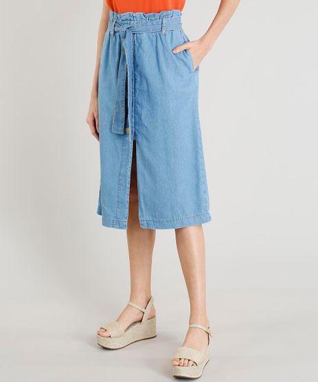 Saia-Clochard-Jeans-Feminina-Midi-com-Botoes-e-Fenda-Azul-Claro-9458586-Azul_Claro_1
