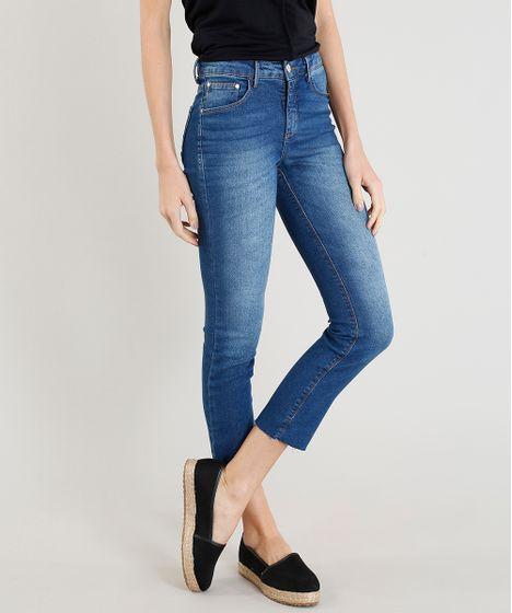 a1c60ae58 Calça Jeans Feminina Slim Barra a Fio Azul Escuro - cea