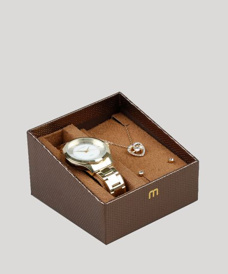 Kit-de-Relogio-Analogico-Mondaine-Feminino---Colar---Brinco---99231LPMVDE1KB-Dourado-9398400-Dourado_1