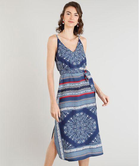 5de7213602 Vestido Feminino Midi Estampado Arabesco Alça Fina Azul Marinho - cea