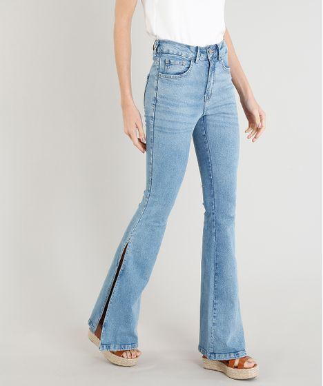 1effefd9c Calça Jeans Feminina Flare com Fendas Azul Claro - cea