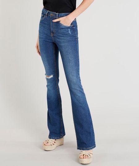3745d2fed Menor preço em Calça Jeans Feminina Boot Cut Cintura Alta com Rasgo Azul  Escuro
