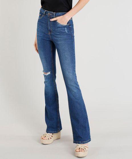 Calca-Jeans-Feminina-Boot-Cut-Cintura-Alta-com-Rasgo-Azul-Escuro-9346399-Azul_Escuro_1