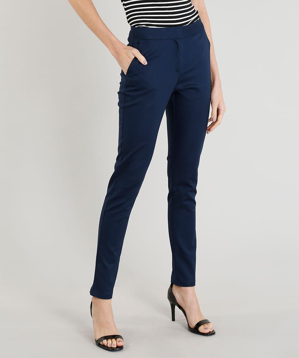 e1cf5d70a Calça Social Feminina Skinny com Bolsos Azul Marinho - cea