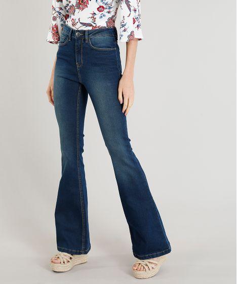 fa1f5c3706 Calça Jeans Feminina Flare Cintura Alta Azul Escuro - cea