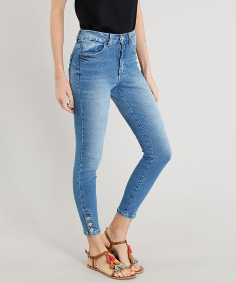 Calca-Jeans-Feminina-Cigarrete-Cintura-Alta-com-Botoes-na-Barra--Azul-Claro-9365649-Azul_Claro_1
