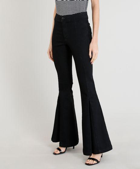 Calca-Jeans-Feminina-Flare-com-Pregas-na-Barra-Azul-Escuro-9458577-Azul_Escuro_1