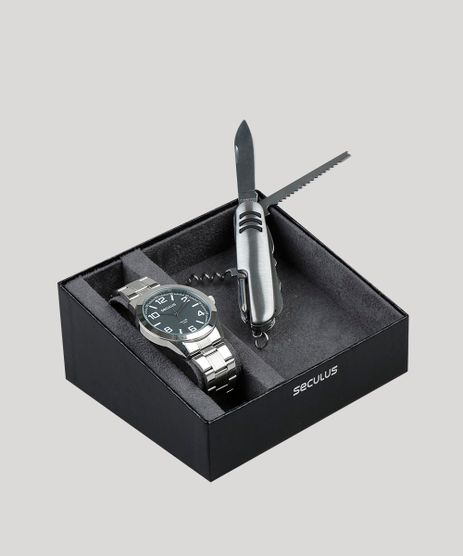 Kit-de-Relogio-Analogico-Seculus-Masculino---Canivete---28867G0SVNA1K1-Prateado-9474282-Prateado_1