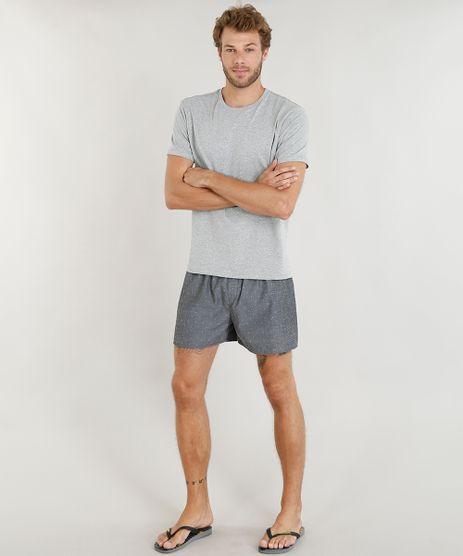 Pijama-Masculino-com-Camiseta-Manga-Curta---Samba-Cancao-Estampada-Cinza-Mescla-9395532-Cinza_Mescla_1