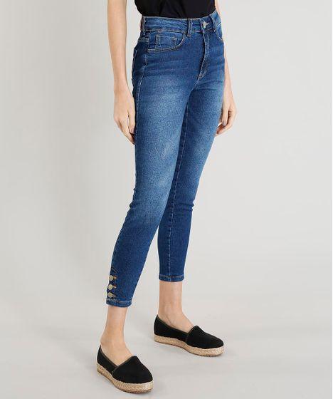 92e52f785 Calça Jeans Feminina Cigarrete Cintura Alta com Botões na Barra Azul ...