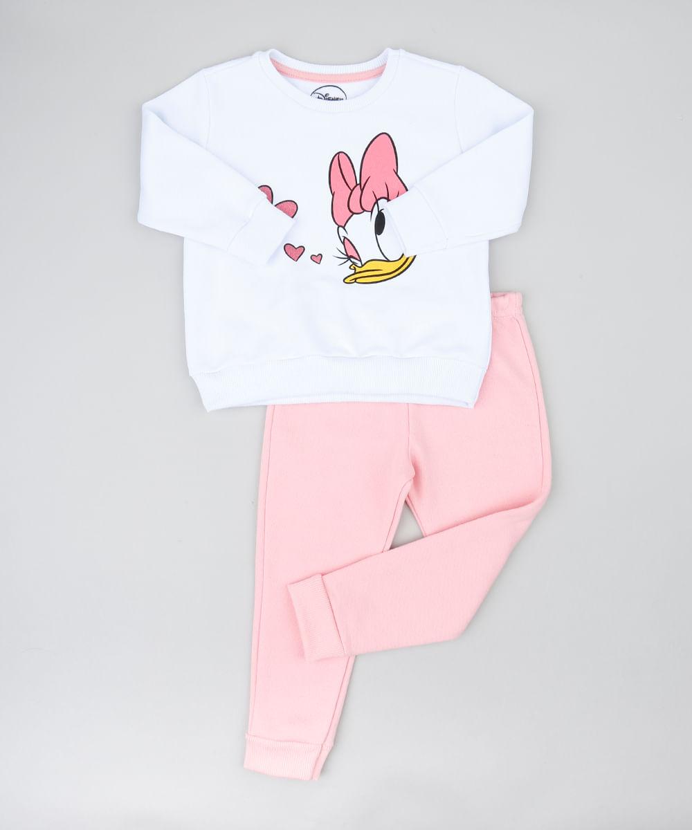 b034a21738 Conjunto Infantil Margarida de Blusão com Glitter Branco + Calça em ...