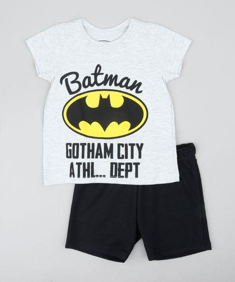 Conjunto-Infantil-Batman-de-Camiseta-Manga-Curta-Cinza-Mescla-Claro---Bermuda-em-Moletom-Preta-9429372-Preto_1