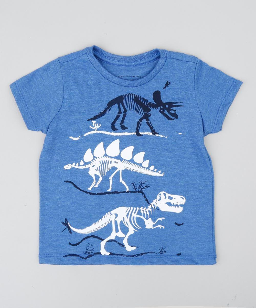 5bdbc1bc3f087 Camiseta Infantil Dinossauros Manga Curta Gola Careca Azul - cea