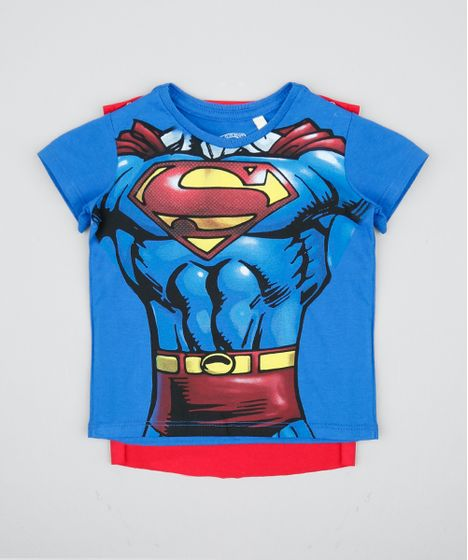 7f5b05845 Camiseta Infantil Carnaval Super Homem com Capa Manga Curta Azul ...