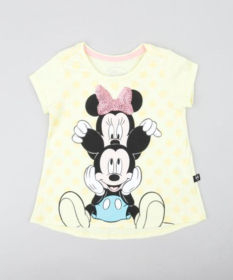 Blusa-Infantil-Minnie-e-Mickey-com-Paete-Manga-Curta-Decote-Redondo-Amarela-Claro-9422032-Amarelo_Claro_1