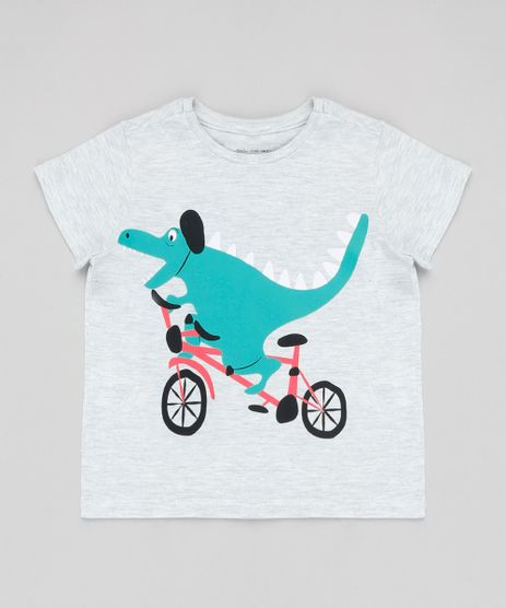 Camiseta-Infantil-Dinossauro-Manga-Curta-Gola-Careca-Cinza-Mescla-Claro-9426395-Cinza_Mescla_Claro_1