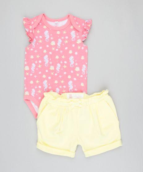 Conjunto-Infantil-de-Body-Estampado-Sem-Manga-Rosa---Short--Amarelo-9201691-Amarelo_1