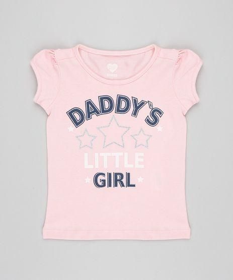 Blusa-Infantil--Daddy-s-Girl--com-Glitter-Manga-Curta-Decote-Redondo-Rosa-9420127-Rosa_1