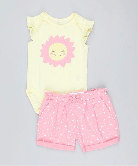 Conjunto-Infantil-de-Body-Sem-Manga-Amarelo---Short-Estampado-de-Coracoes-Rosa-9201692-Rosa_1