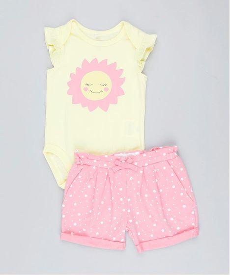 da684f95d Conjunto Infantil de Body Sem Manga Amarelo + Short Estampado de ...