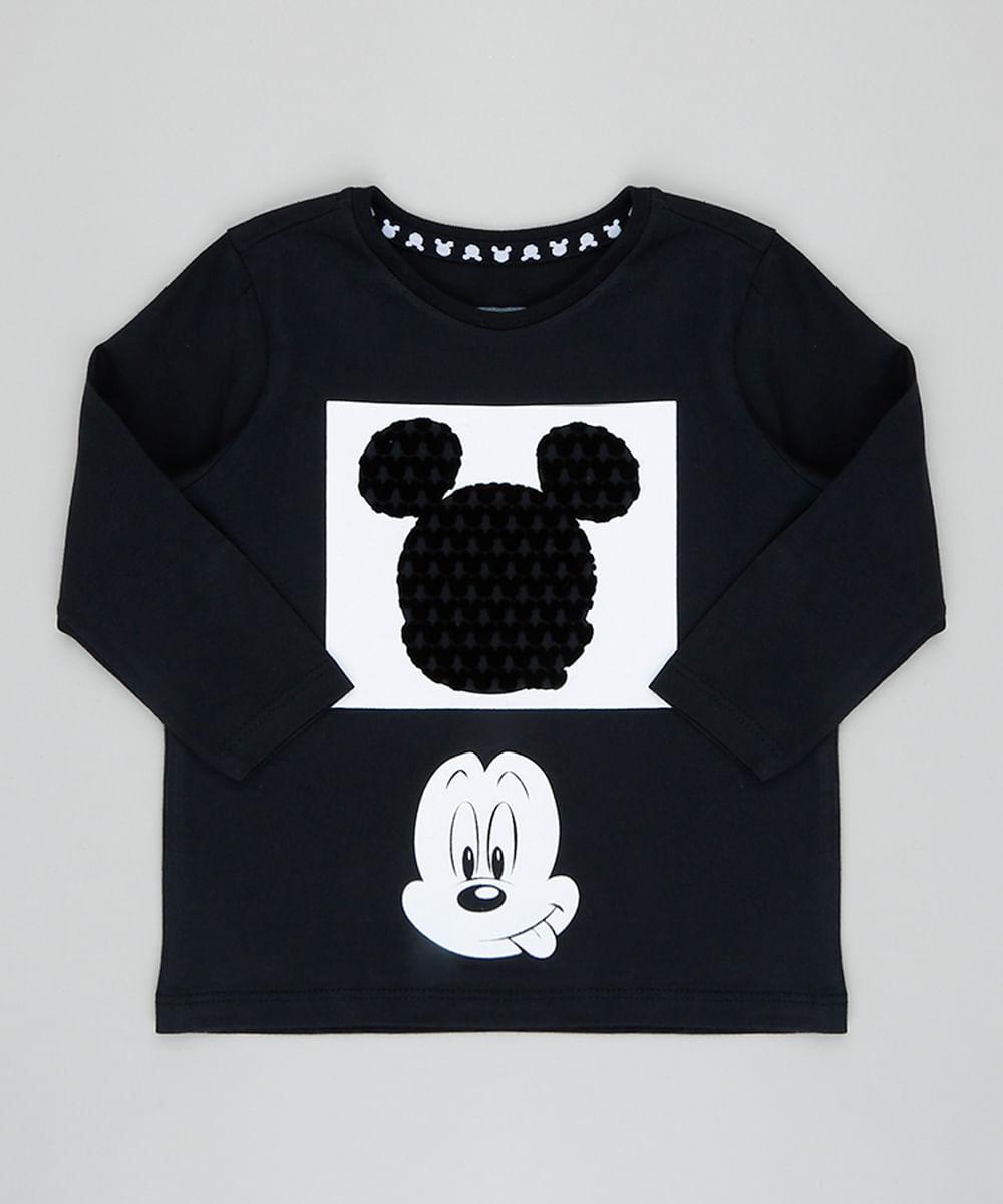 6d4004ce90 Camiseta Infantil Mickey Manga Longa Gola Careca Preta - cea