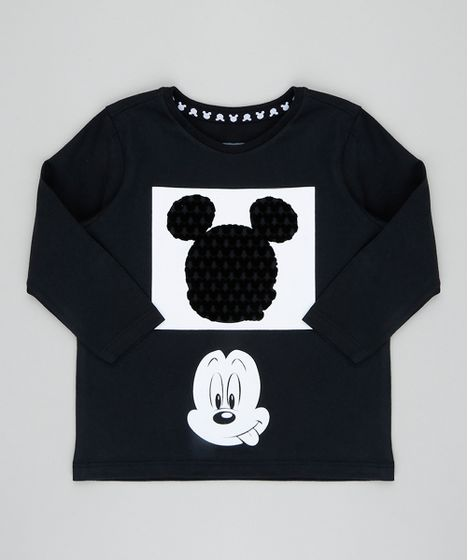 Camiseta Infantil Mickey Manga Longa Gola Careca Preta - cea adbda8689dfd0