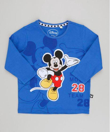 Camiseta Infantil Mickey com Recorte Manga Longa Gola Careca Azul ... 37cb39b660325