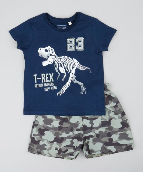 Conjunto-Infantil-de-Camiseta-Dinossauro-Manga-Curta-Azul-Marinho---Bermuda-Estampada-Camuflada-Verde-9428681-Verde_1