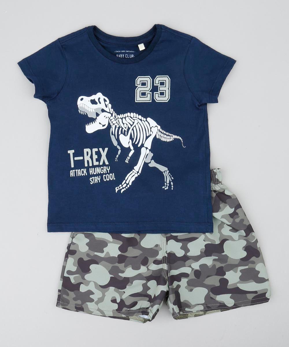 5dc248fff Conjunto Infantil de Camiseta Dinossauro Manga Curta Azul Marinho + ...