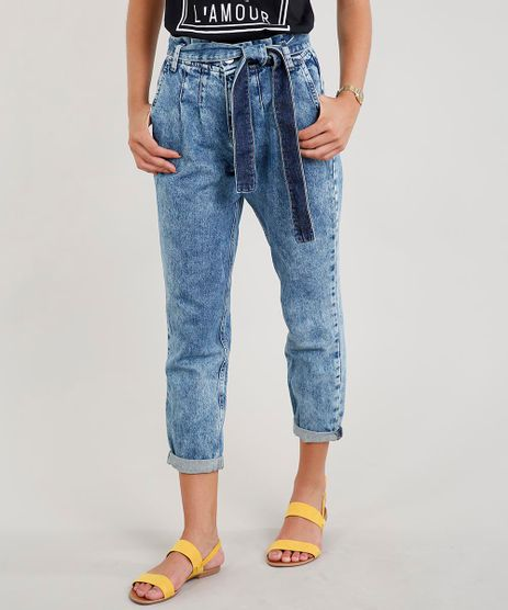 Calca-Jeans-Feminina-Clochard-com-Faixa-para-Amarrar-Azul-Medio-9458542-Azul_Medio_1