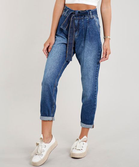 Calca-Jeans-Feminina-Clochard-com-Faixa-para-Amarrar-Azul-Medio-9458543-Azul_Medio_1